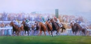Mike Heslop's painting showing Dancing Brave (pink cap), winning the 1986 Arc. Shahrastani (white face, green silks, finished fourth)