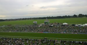 Across the Knavesmire from the stands - the long railed walk is the route from the racecourse stables to the course to be tacked up