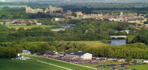 Royal Windsor Racecourse with the Castle and Thames behind it.
