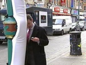 Padded lamp-post for distracted texters, and all-night cricket watchers.